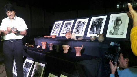 l presidente Evo Morales repatria 23 piezas arqueológicas de Alemania.