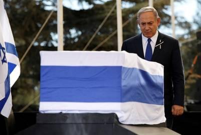 El premier israelí en su último adiós a Shimon Peres. / Reuters