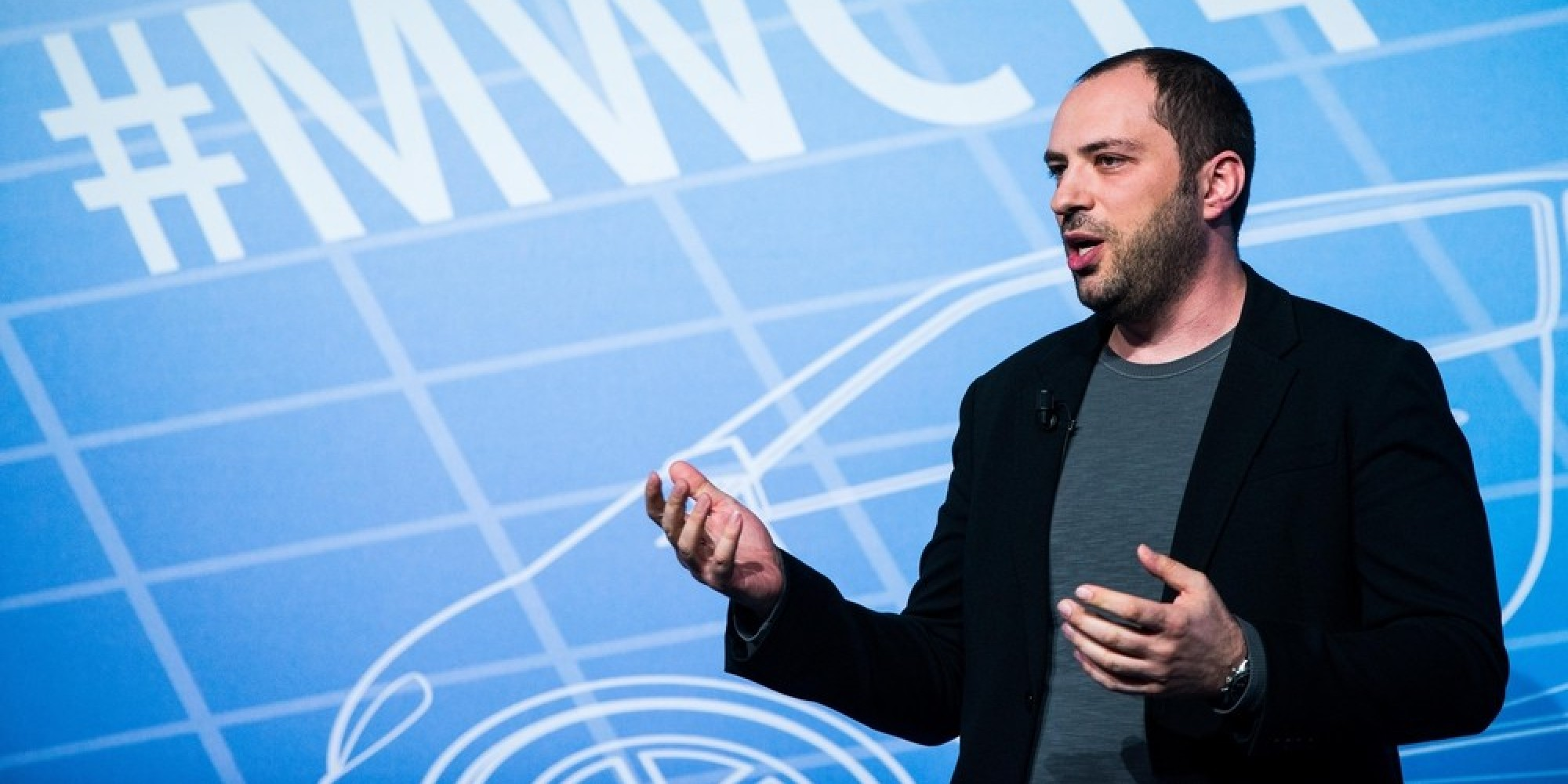 BARCELONA, SPAIN - FEBRUARY 24:  Whatsapp CEo Jan Koum during a Keynote conference as part of the first day of the Mobile World Congress 2013 at the Fira Gran Via complex on February 24, 2014 in Barcelona, Spain. The annual Mobile World Congress hosts some of the world's largest communication companies, with many unveiling their latest phones and gadgets. The show runs from February 24 - February 27.  (Photo by David Ramos/Getty Images)