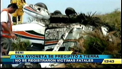 Avioneta se precipita a tierra en el Aeropuerto de Trinidad, no hay víctimas fatales