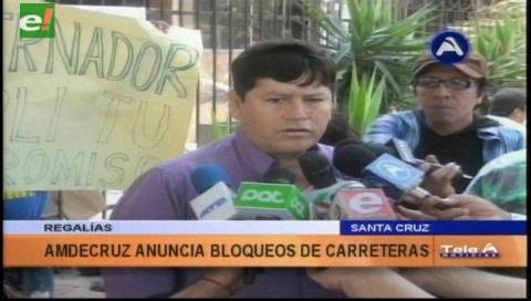 Regalías: Amdecruz anuncia bloqueo de carreteras