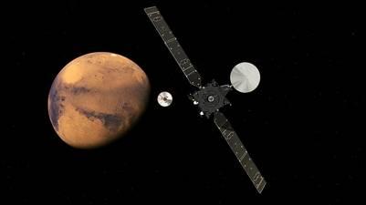Recreación artística de la misión ExoMars acercándose al Planeta Rojo.  AP.