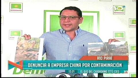 Diputado Monasterio denuncia que la empresa Sinopec contamina el río Ichilo
