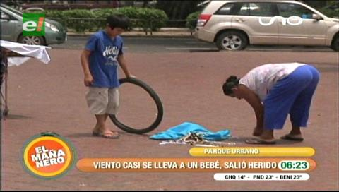Santa Cruz: Vientos casi se llevan a un bebé de un mes
