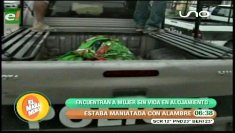 Cochabamba: Encuentran el cuerpo de una mujer en un alojamiento, estaba maniatada con alambre