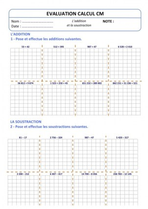 Evaluation Calcul CM - Addition Soustraction