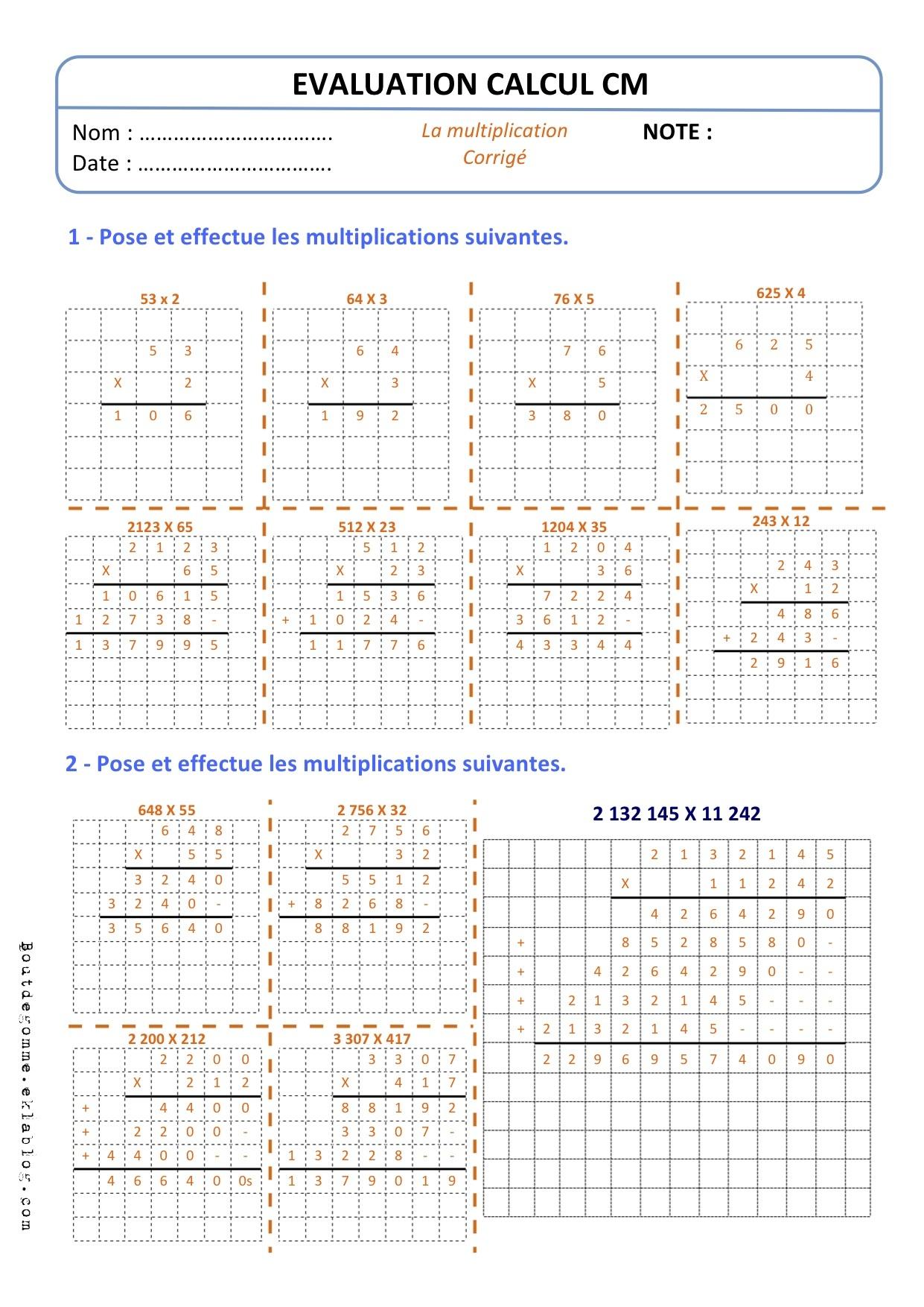 Evaluations cm2 bout de gomme page 2 - Evaluation ce table de multiplication ...