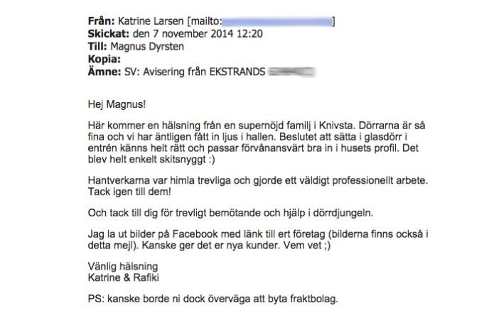 Ekstrands referens Katrine & Rafiki