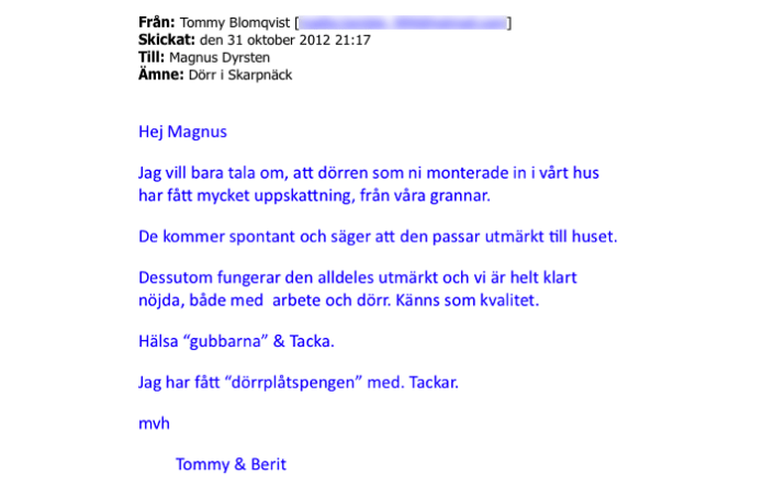 Ekstrands referens Tommy & Berit