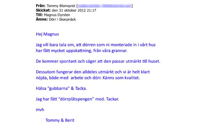 Ekstrands referens Tommy & Berit