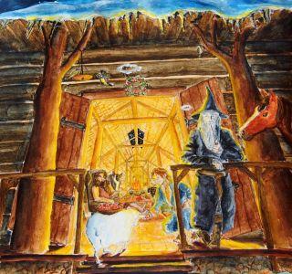 Gandalf y Bilbo en la casa de Beorn, según MirachRavaia