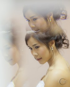 Beautiful bride in mirror reflection