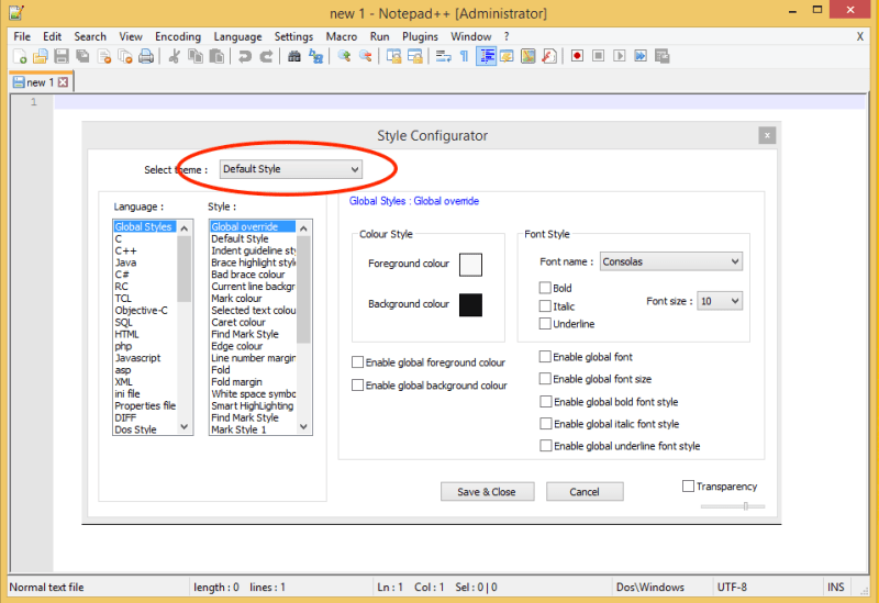 Notepad++ Style Configurator