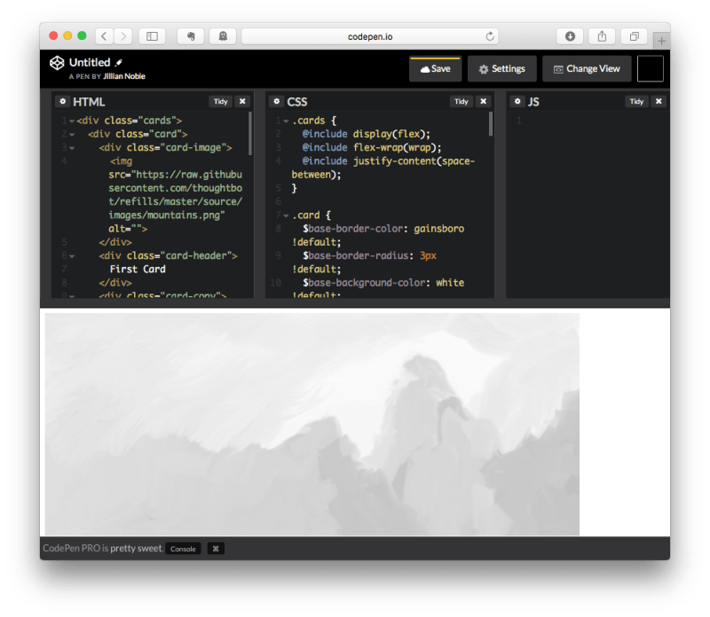 CodePen with Pasted Code