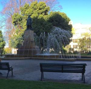 bench and fountain