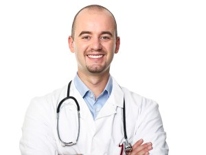 isolated young caucasian doctor portrait