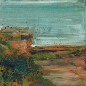 © 2015 Eleanore Ditchburn, Headland #2, Acrylic on Gessobord 10 x 10 cm