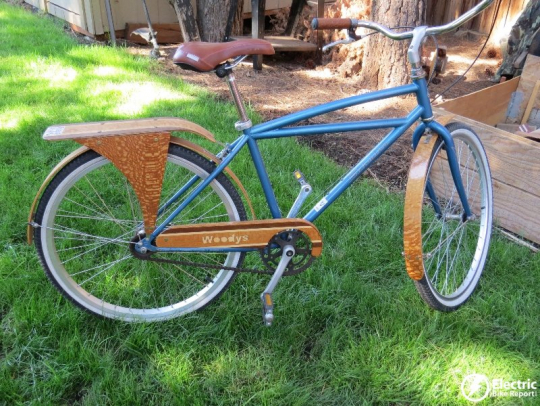 Woody's also makes a custom wooden rack and wooden chain-guard