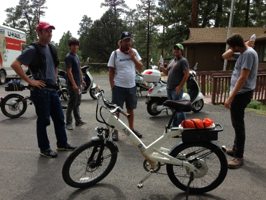This is Ben Hopkins A2B Alva electric bike that he hopes to set the Guinness Book of World Records on