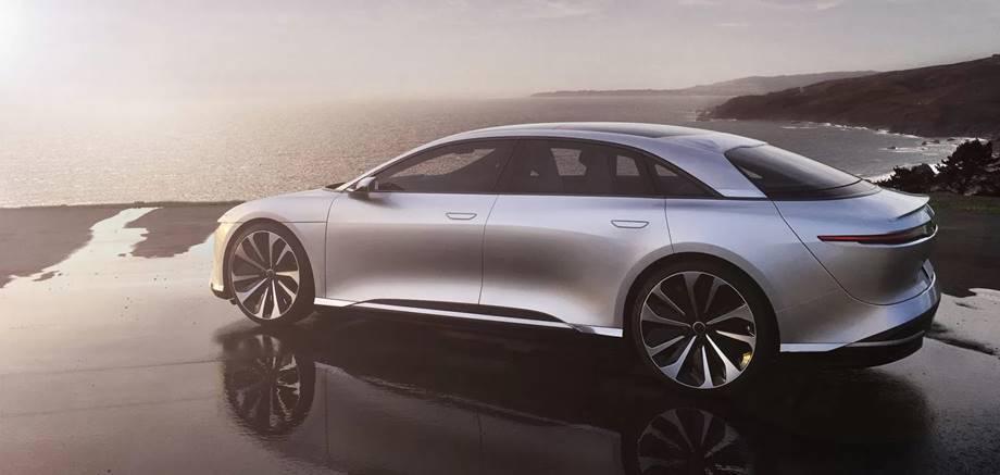 Lucid Motors Aire vehículo eléctrico chino diseñado en California. Sedán electrico de lujo. Atieva electric vehicle