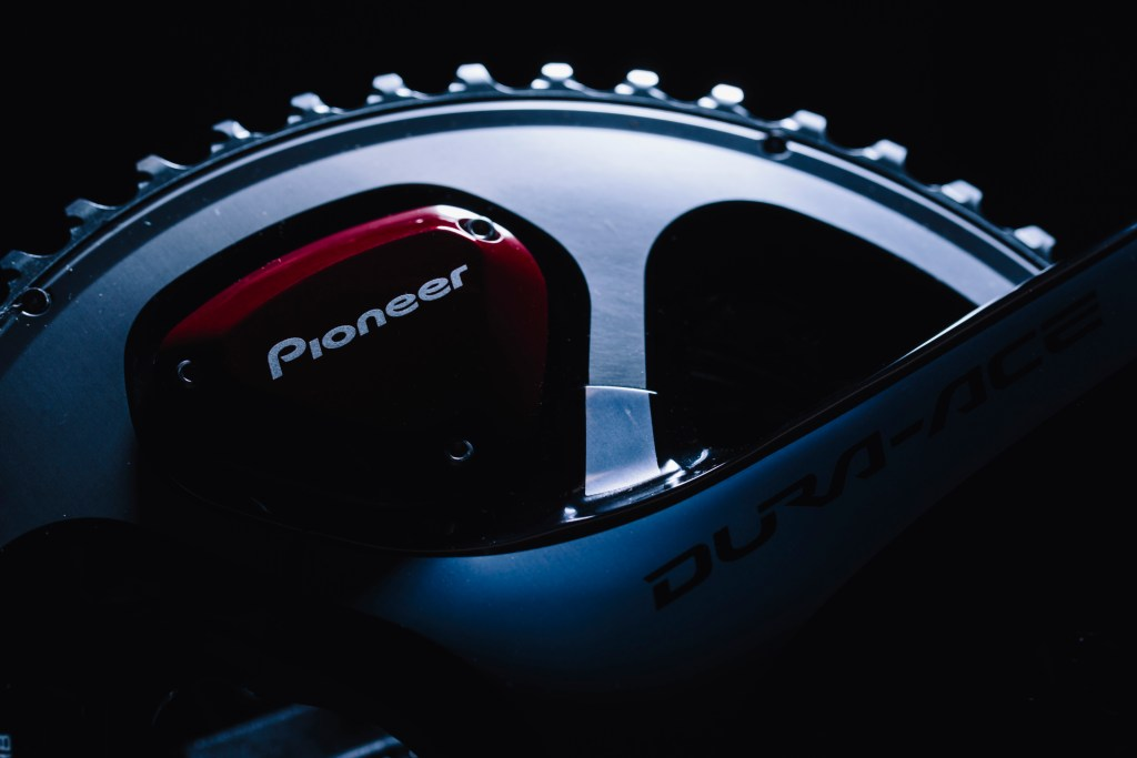 A view of the Shimano Dura-Ace 9000 crankset from the drive side, with the Pioneer power meter sensor built-in.