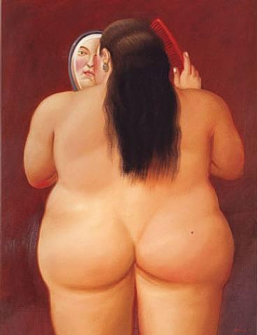 Botero donna allo specchio