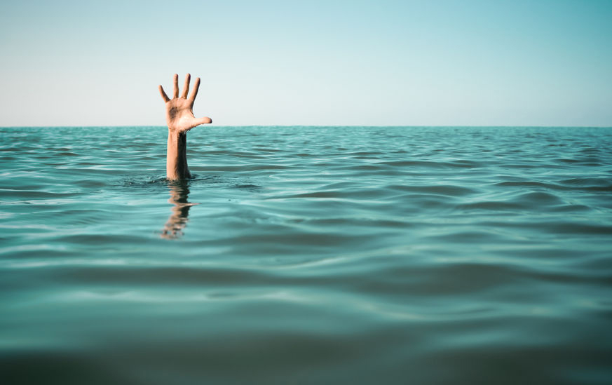 39432252 - hand in sea water asking for help. failure and rescue concept.
