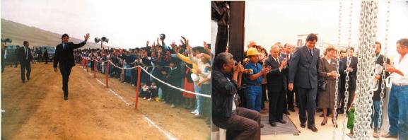 Crédito: Landeras, Humberto: Chavimovic, proyecto peruano de desarrollo sin parangón. Pie de foto: Presidente Alan García durante la inauguración del proyecto Cachivomic.