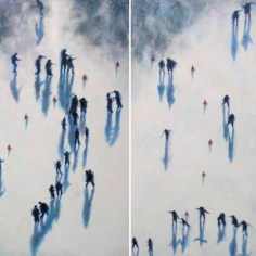 """Shadows Central Park Winter - dyp-tych"" oil on canvas 2 x 150 x 120 cm ( 2 x 60"" x 48"")"