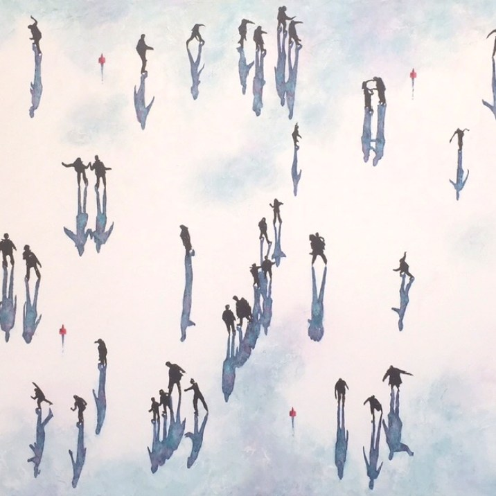 """Shadows Central Park - Iceskaters"" mixed media on canvas 100 x 180 cm (40"" x 72"")"