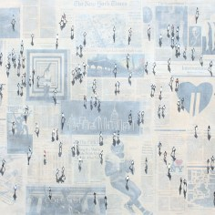 """Shadows on New York Times IV"" mixed media 80 x 180 cm (32"" x 72"")"