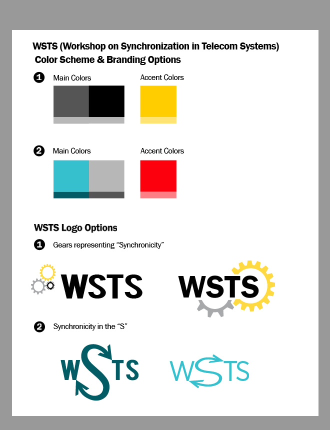 Examples of two possible color themes and four logos. One logo concept plays with the idea of synchronicity as the gears of a clock, the other concept morphs the first s into arrows. Color scheme choices are gray, black with a yellow accent; or teal with red accent.