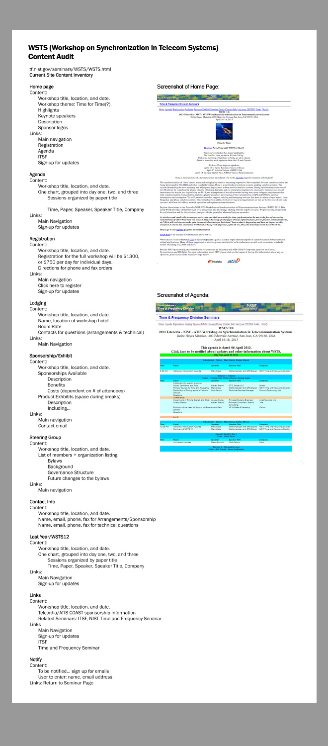 Image of text listing pages and content included on the existing wsts site. Includes a screenshot of the agenda page of the existing site and recommendations for the new site structure.
