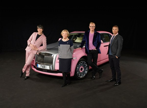 Fabulous pink Rolls Royce Ghost with an Extended wheelbase together with most popular British celebrities