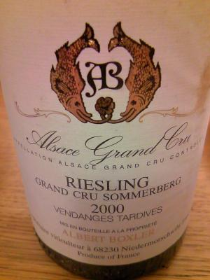 Riesling Grand Cru Sommerberg Vendanges Tardives 2000, Albert Boxler