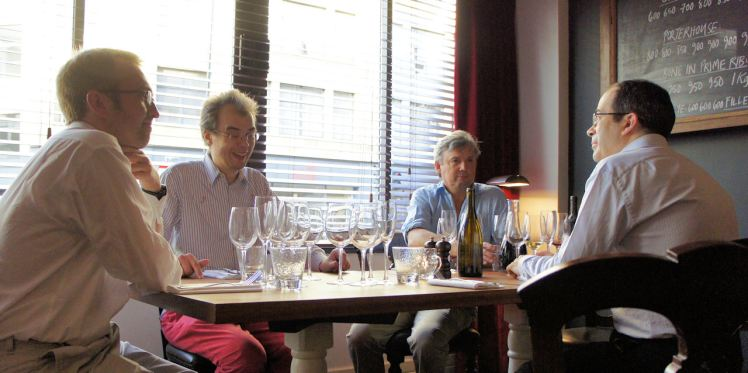 Guy, David, Nigel and Paul ready to embark on a dinner of heroism