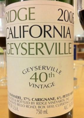 Geyserville 2005, Ridge