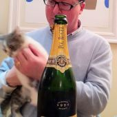 Edward Tully, Pol Roger Chardonnay 1995 and Holly the kitten