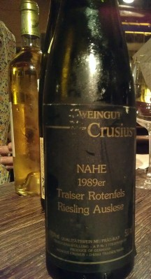 Weingut Crusius Riesling Auslese Traiser Rotenfels 1989