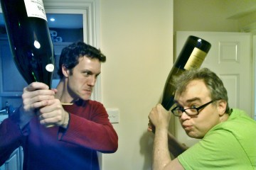 Austrian wine drinkers prepare to start combat!