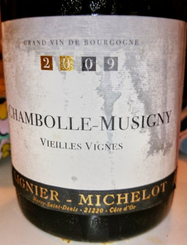 Wine fridge- stained Lignier-Michelot Chambolle-Musigny 2009 label