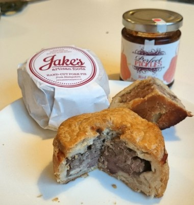 A Jake's pork pie with Perfect Pickles red hot tomato chutney