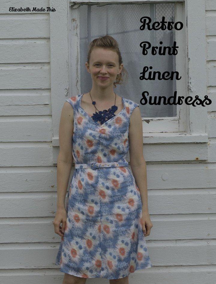 retro linen print sundress