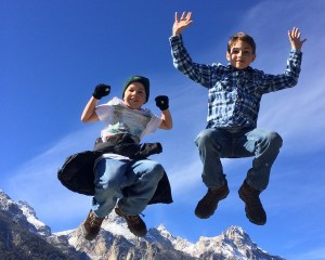 My sons Aren and Iden Elliott jump for joy on Friday, the second day we visited Grand Teton National Park.