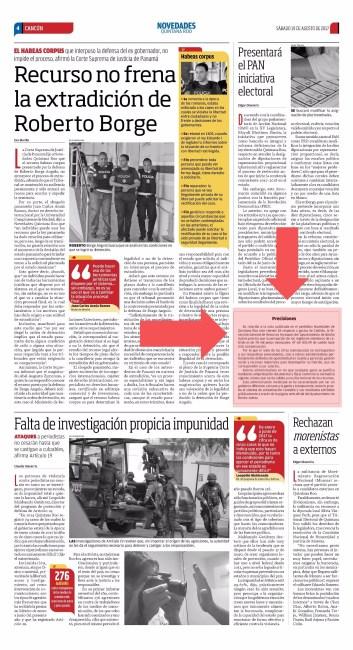 Página interior de Novedades Quintana Roo
