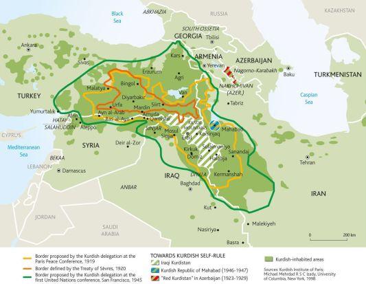 Las fronteras históricas del Kurdistán y la distribución de los kurdos en la región. Fuente: Le Monde Diplomatique.