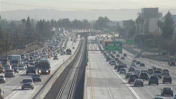 Los carriles ExpressLanes de la autoopista I-10 el lunes por la mañana. Foto: Metro.