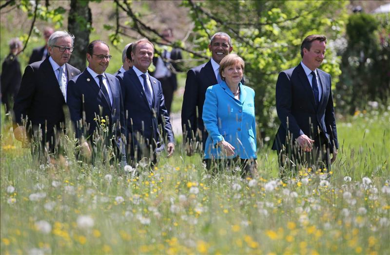 Los líderes de los siete países más industrializados del mundo, ayer en Baviera.  FOTO: EFE