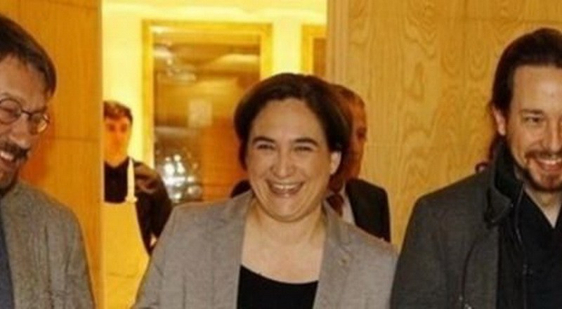 Domencech, Ada Colau y Pablo Iglesias