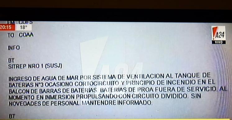 ARA San Juan: el último mensaje del submarino antes de perder contacto